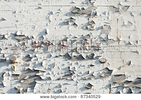 Facade With Flacking White Color, Background Texture