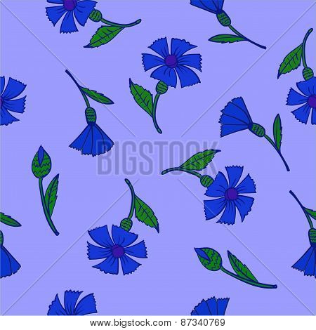 pattern blue cornflowers on a blue background