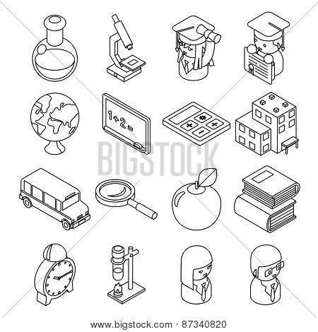 Education and school isometric 3d line icons