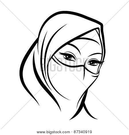 Arab muslim woman face