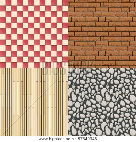 Wooden floor texture, stone pattern and tiles background set