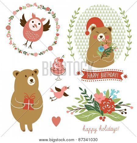 holiday set. birthday card design elements