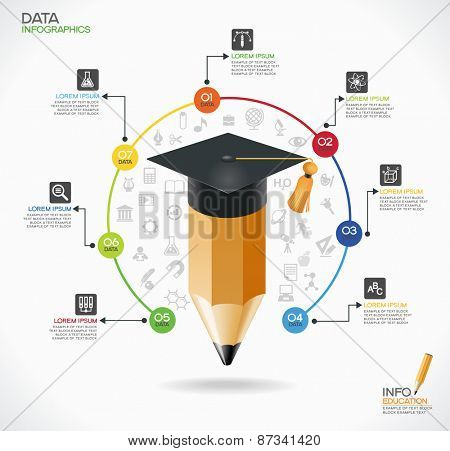Education infographic Template. Concept education. Academic cap and pensil surrounded by icons of education, text, numbers. The file is saved in the version AI10 EPS.