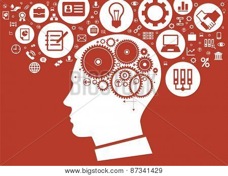 Modern flat design background. The concept of modern business. Silhouette of the man head with gears surrounded by icons of business