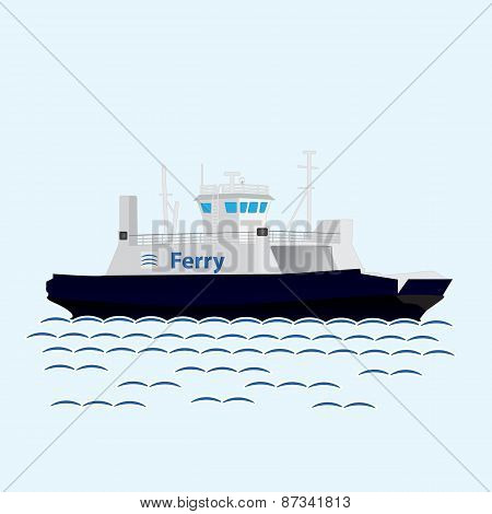Sea train ferry boat. Big ship