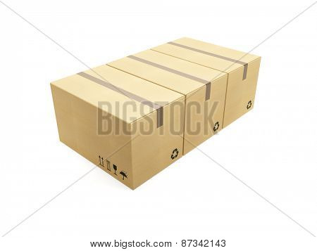 row of cardboard box, 3d render