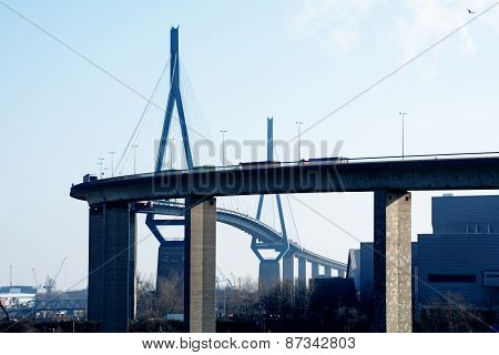 Koehlbrand Bridge Over The River Elbe  Landmark In Hamburg Germany
