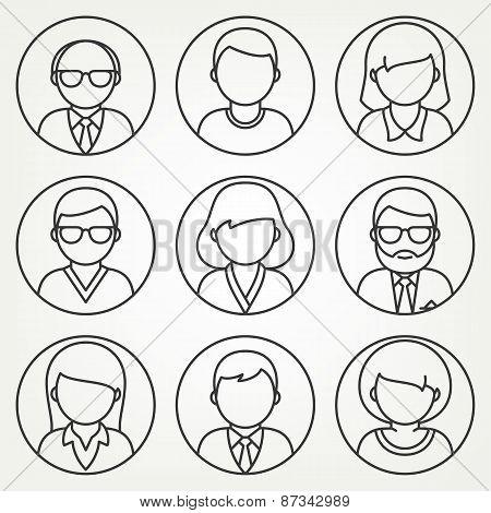 Vector mono line people icons set