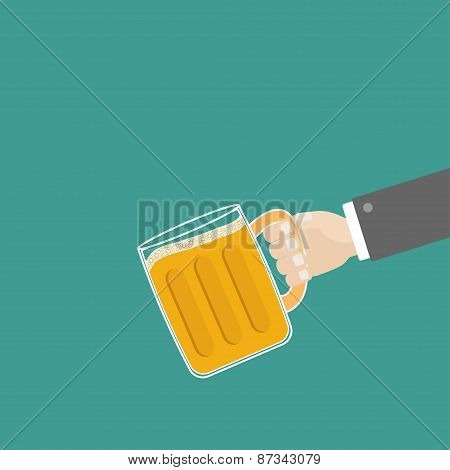 Hand And Clink Beer Glasses Mug With Foam Cap Froth Bubble. Flat Design