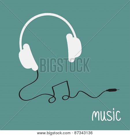 White Headphones With Black Cord In Shape Of Note Word Music Background Card. Flat Design