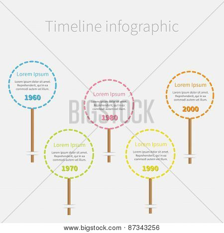 Big Dash Line Round Icons On Stick Timeline Infographic With Text. Template. Flat Design