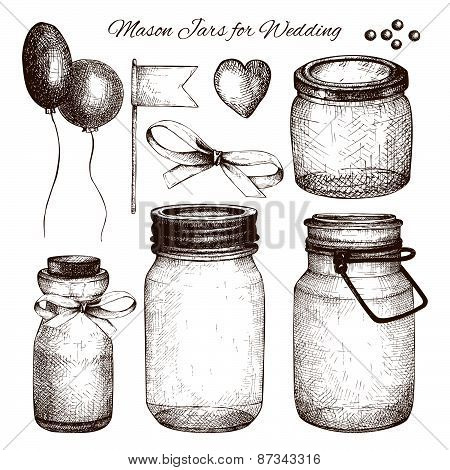 Vector collection of ink hand drawn mason jars