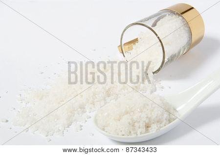 Fleur de sal salt in a spoon