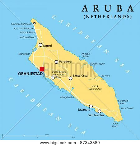 Aruba Political Map