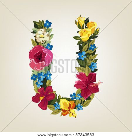 U letter. Flower capital alphabet. Colorful font. Uppercase.