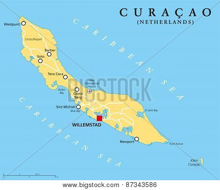 Curacao Political Map