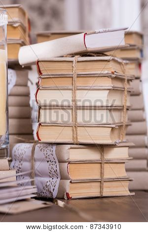Old Book Heap In Vintage Library