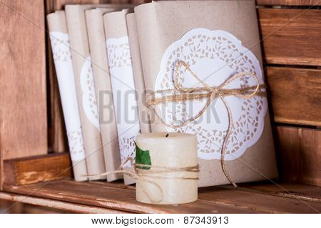 Wood Book Shelf With Vintage Book