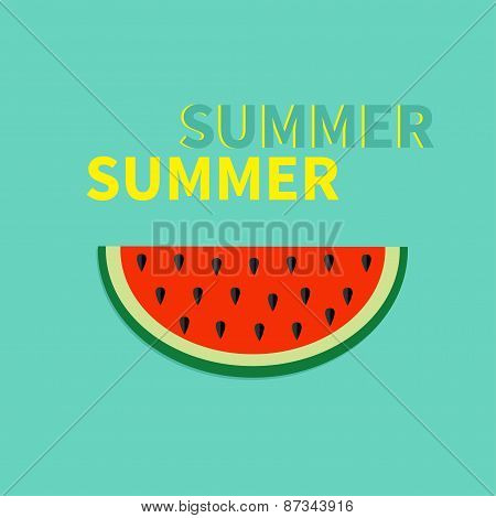 Watermelon Slice With Seeds Flat Design Icon Summer Blue Background Card