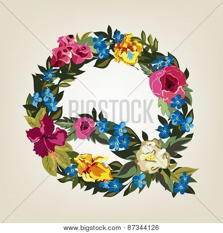 Q letter. Flower capital alphabet. Colorful font. Uppercase.