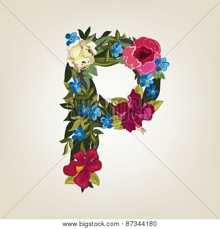 P letter. Flower capital alphabet. Colorful font. Uppercase.