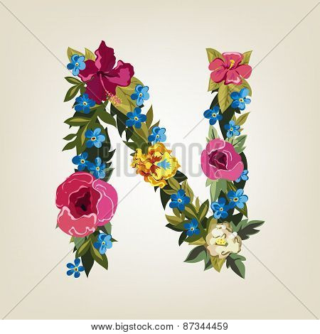 N letter. Flower capital alphabet. Colorful font. Uppercase.
