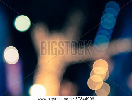 Defocused Colorful Bokeh Of Light  Spilt Tone