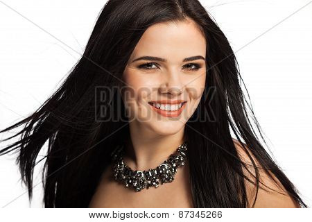 Smiling White Caucasian Female Model Isolated On White Background