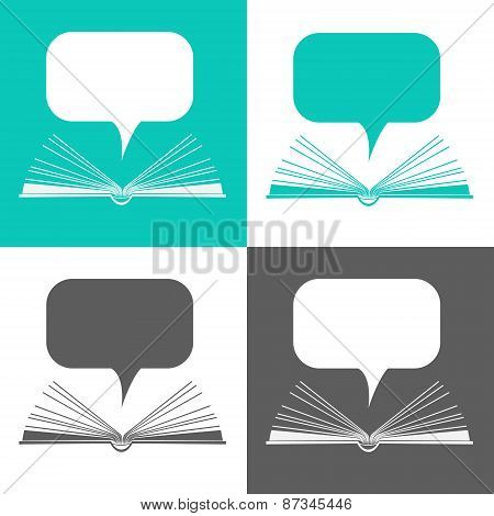 Set Of Icons. Open Paper Book With Speech Clouds In Flat Design Style