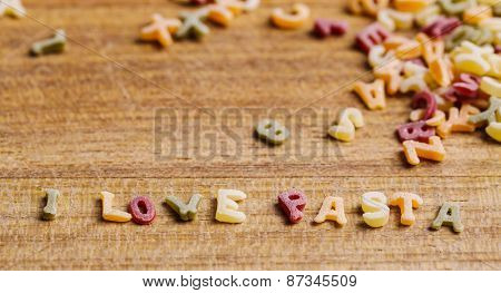 Food, nutrition. Delicious pasta letters