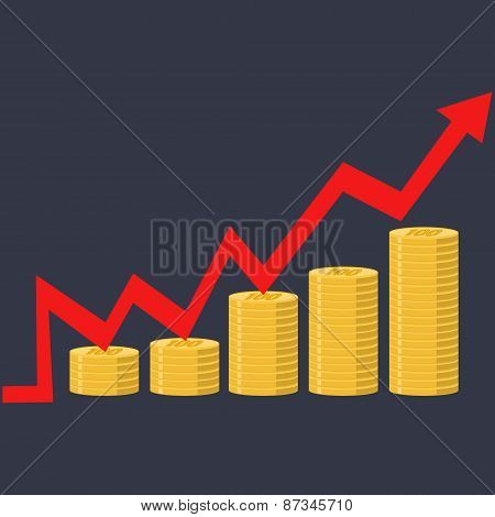 Illustration. Financial Curve Graph Stacks Of Gold Coins.