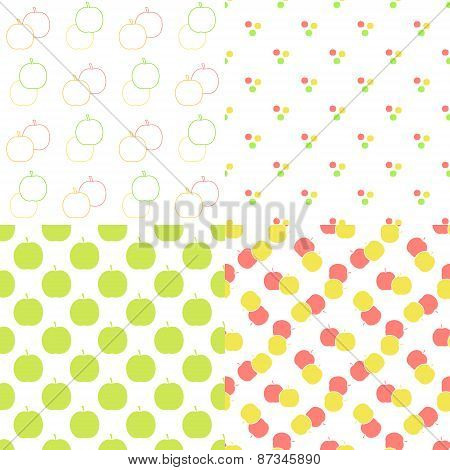 Apple seamless patterns set in modern clean and simple flat design. Apple background. Vector illustr