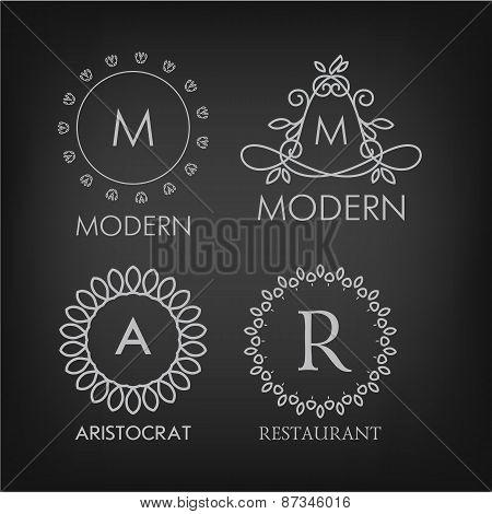 Set of luxury, simple and elegant monogram designs templates