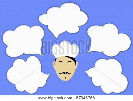 Chef and clouds for text or icons