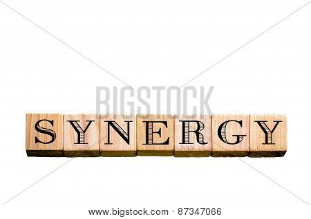 Word Synergy Isolated On Black Background