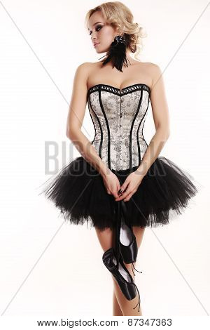 Ballerina Dancer Girl With Blond Hair In Luxurious Dancing Clothes