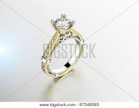 Golden Engagement Ring . Jewelry background