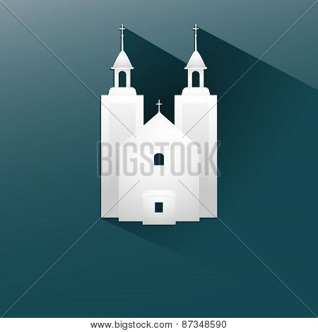 Symbol white church with a flat long shadow