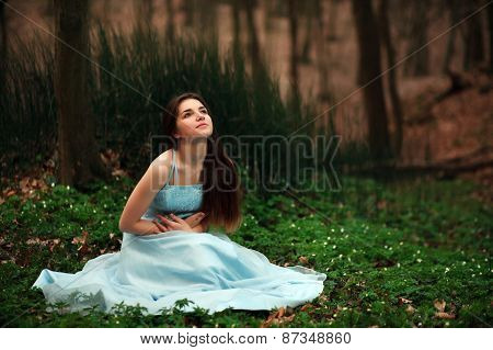 Romantic Young Girl In A Long Blue Dress, In The Twilight Fairy Forest