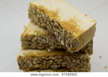 handmade soap with oatmeal grains