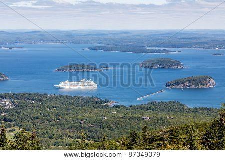 Cruise Ship In Bay From Cadillac Mountain