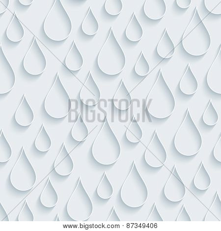 White paper with outline extrude effect. Raindrops 3d seamless background. Halftone vector EPS10.