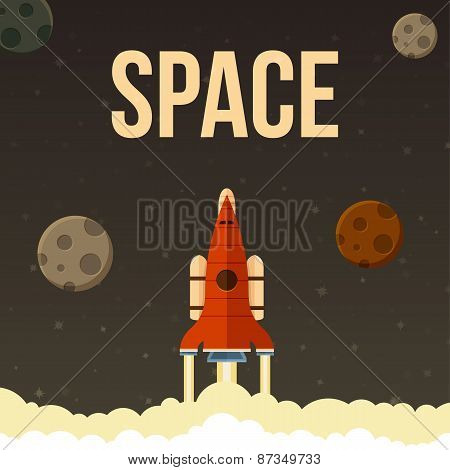 Rocket vector illustration that fly in universe.