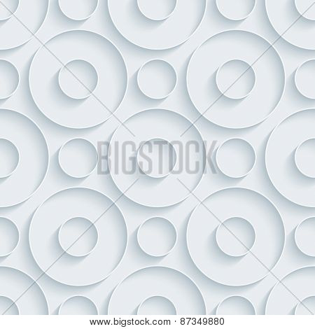 White paper with outline extrude effect. Circles 3d seamless background. Halftone vector EPS10.