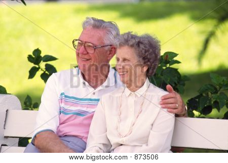 Retired Couple On Bench 1