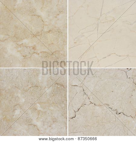 Four Different Texture Of A Light And Dark Marble (high.res.)