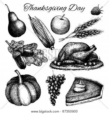 Vintage turkey day sketch set.
