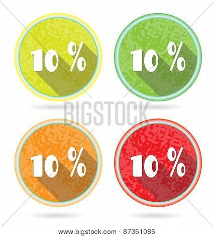 Set, collection, group of four isolated, flat, colorful buttons, icons, signs, labels, stickers, 10