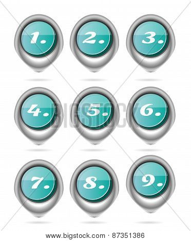 Set, collection of nine, isolated, oval, blue buttons with white numbers