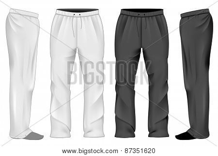 Men's white and black sweatpants. Vector illustration.